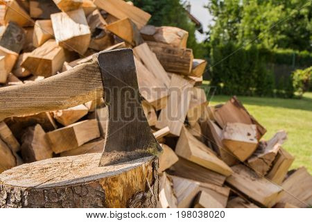 Chopping wood on the block in the garden