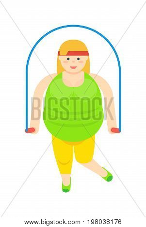 Fat woman with jumping rope isolated icon. Fatty female vector illustration isolated on white background. Unhealthy lifestyle and overweight concept.