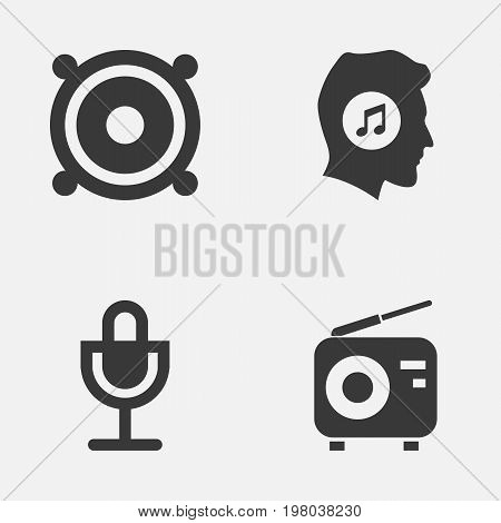 Music Icons Set. Collection Of Mike, Meloman, Megaphone And Other Elements