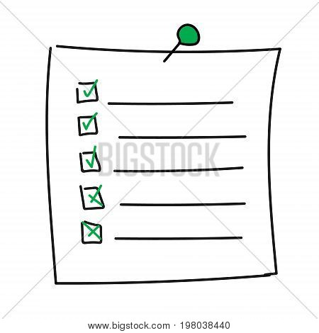 Vector isolated outline hand drawn check to do list, bullet, check mark and check box in a doodle sketch cartoon style. Paper note with task plan with pin.