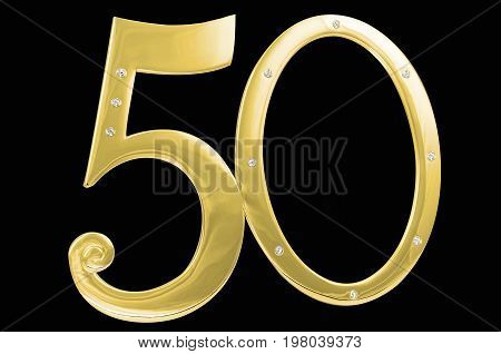 gold photo frame birthday 50 anniversary of isolation on a black background