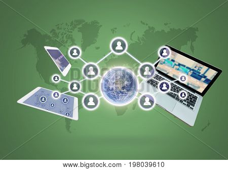 Social network with Technology devise on world map background Elements of this image furnished by NASA Business network concept
