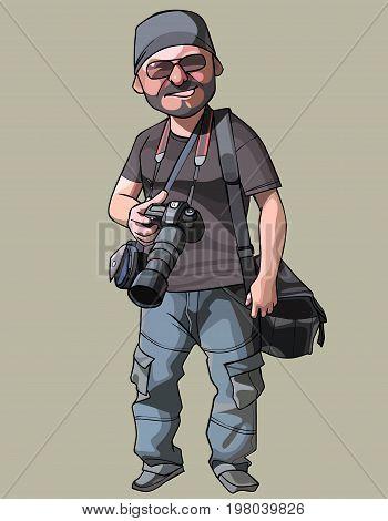 Cartoon joyful male photographer with camera in hand