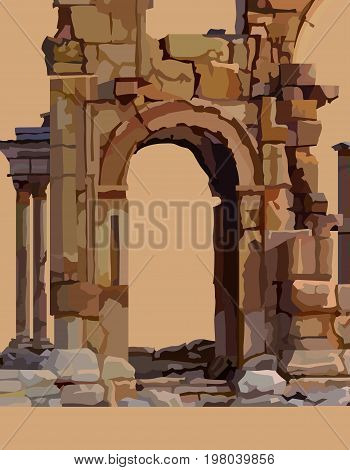 Painted dilapidated stone arch of ancient ruins