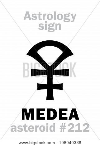 Astrology Alphabet: MEDEA, asteroid #212. Hieroglyphics character sign (single symbol).