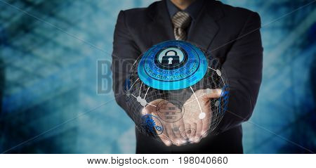 Blue chip manager is offering a secure managed services solution in the two open palms of his hands. IT concept for data storage mobility management global communications and computer network.