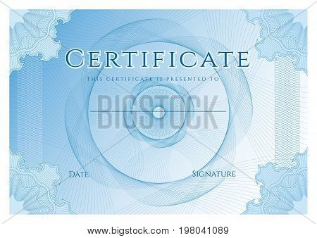 Certificate, Diploma of completion (design template, background) with bule guilloche pattern (watermark)