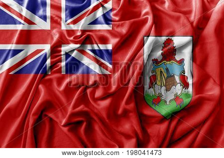 Ruffled waving Bermuda flag national flag close
