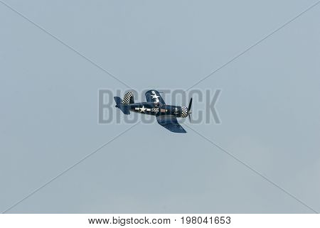 Cape Cod Massachusetts USA - August 24 2007: Chance Vought F4U Corsair banking into turn at Otis Air Force Base airshow