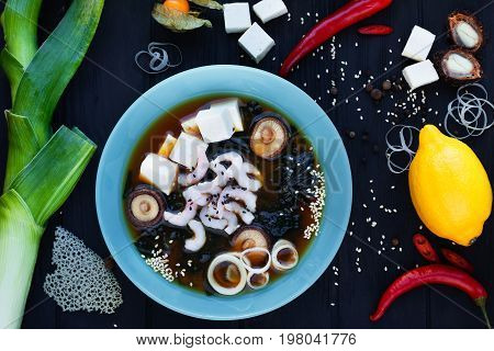 Miso Soup With Shrimps,mushrooms And Tofu Cheese