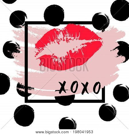 XOXO hugs and kisses lipstick kiss on a white background. Vector.