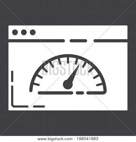 Page Speed glyph icon, seo and development, browser sign vector graphics, a solid pattern on a black background, eps 10.