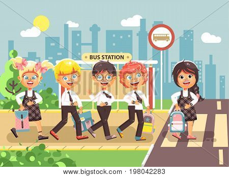 Stock vector illustration cartoon characters children, observance traffic rules, boys and girl schoolchildren classmates go to road pedestrian crossing, bus stop background, back to school flat style