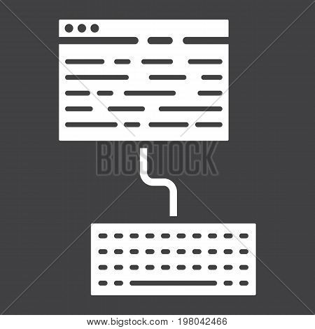 Copywriting glyph icon, seo and development, blogging sign vector graphics, a solid pattern on a black background, eps 10.