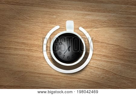 Coffee cup with power-on symbol and time over the coffee bean background. Energy and active concept