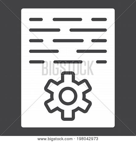 Article marketing glyph icon, seo and development, document sign vector graphics, a solid pattern on a black background, eps 10.