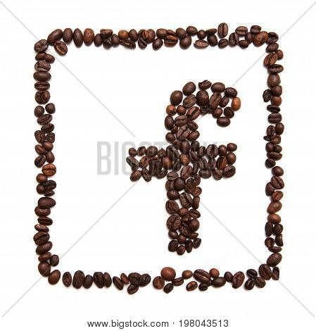 Kharkov, Ukraine - April 19, 2017: Icon of Facebook made of coffee beans on white background. Facebook is the largest social network in world and online social media