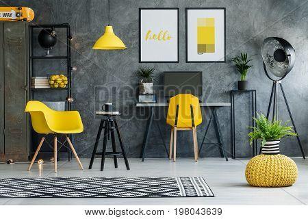 Scandinavian design of freelancer office with desk metal rack mock-up