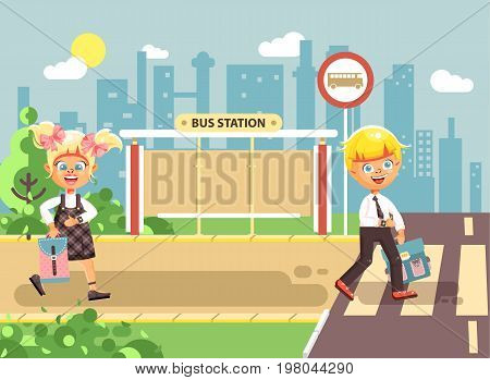 Stock vector illustration cartoon characters children, observance traffic rules, boy and girl schoolchildren classmates go to road pedestrian crossing, bus stop background back to school in flat style