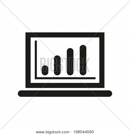 Icon of chart on laptop. Graph, progress, technology. Science concept. Can be used for topics like business, report, statistics