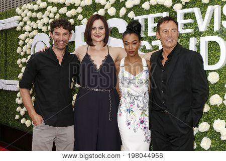 LOS ANGELES - AUG 1:  James Frain, Mary Chieffo, Sonequa Martin-Green, Jason Isaacs at the CBS TV Studios Summer Soiree TCA Party 2017 at the CBS Studio Center on August 1, 2017 in Studio City, CA