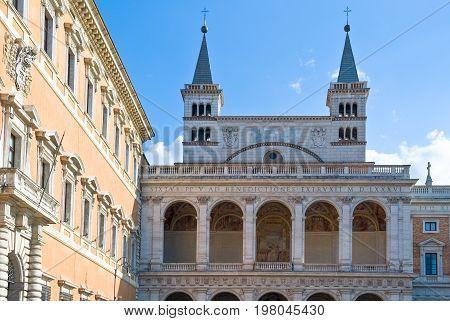 Rome S.Giovanni in Laterano Basilica the north facade with the benediction loggia