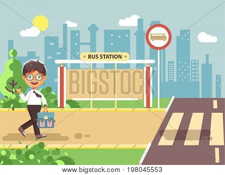 Stock vector illustration cartoon characters child, observance traffic rules, lonely brunette boy schoolchild, pupil go to road pedestrian crossing on bus stop background, back to school in flat style