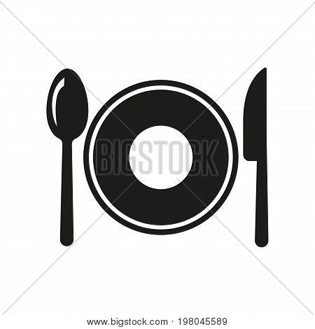 Icon of cutlery with plate. Dish, plate, spoon, knife. Kitchen concept. Can be used for topics like place setting, dinner, menu
