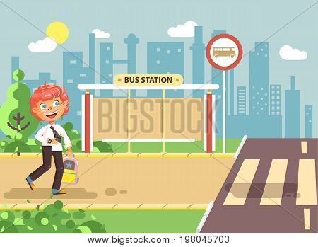 Stock vector illustration cartoon characters child, observance traffic rules, lonely redhead boy schoolchild, pupil go to road pedestrian crossing on bus stop background, back to school in flat style