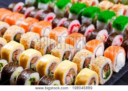 Japanese Food, Sushi Restaurant. Great Assortment Of Tasty Multi