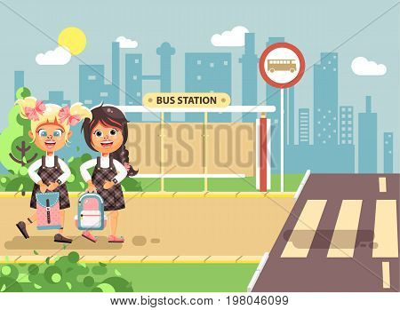 Stock vector illustration cartoon characters children, traffic rules, two blonde and brunette girls schoolchildren, pupils go to road pedestrian crossing, bus stop background back to school flat style