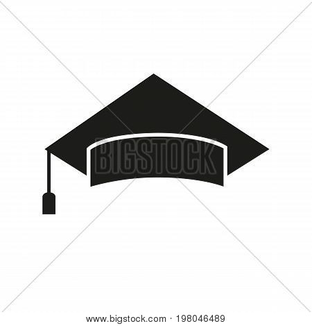 Icon of graduation cap. Academic, hat, success, headwear. Science concept. Can be used for topics like education, bachelor, university