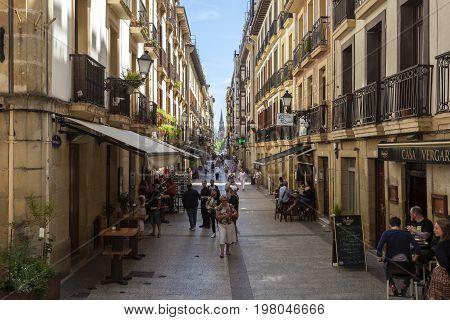 San Sebastian Spain - June 7 2017: Kale Nagusia street in the old town of San Sebastian. Basque country Spain