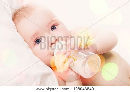 Cute boy milk baby elementary age preadolescent child color