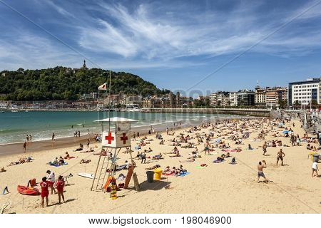 San Sebastian Spain - June 7 2017: Lifeguard tower at the La Concha beach in the city of San Sebastian. Basque country Spain