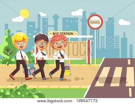 Stock vector illustration cartoon characters children, traffic rules, blonde, brunette, redhead boys schoolchildren, pupils go to road pedestrian crossing bus stop background back to school flat style
