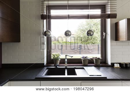 Dark Countertop With Elegant Kitchen