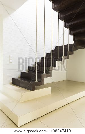 Staircase With White Brickwall