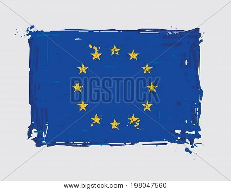 European Union Flat Flag - Vector Artistic Brush Strokes and Splashes. Grunge Illustration all elements neatly on layers and groups. The JPEG has a clipping path for accurate background removal