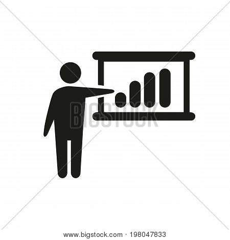 Icon of pointer with chart. Man explaining graph, process, statistics. Science concept. Can be used for topics like presentation, speaker, training class