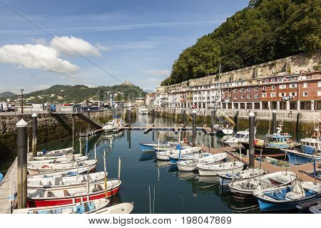 San Sebastian Spain - June 7 2017: Old fishing port in the city of San Sebastian. Basque country Spain
