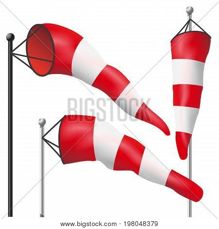 Wind Speed Flag Vector. Inflated By Wind On A Pole. 3D Weather Windsock Isolated Illustration