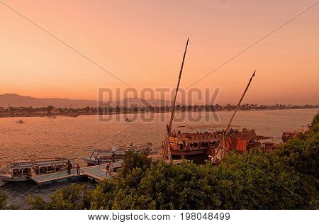 RIVER NILE, EGYPT - OCTOBER 10, 2011: Sunset on the river Nile in Egypt, Africa