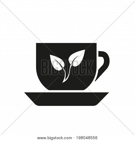 Icon of tea cup. Leaf, porcelain, herbal tea. Beverages concept. Can be used for topics like tea ceremony, hot drink, aroma