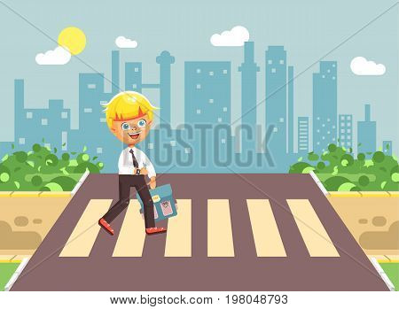 Stock vector illustration cartoon characters child, observance traffic rules, lonely blonde boy schoolchild, pupil go to road pedestrian crossing, on city background, back to school in flat style
