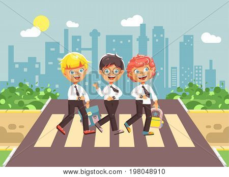 Stock vector illustration cartoon characters children, observance traffic rules, boy schoolboys, classmates pupils go to road pedestrian zone crossing, on city background, back to school in flat style