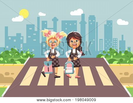 Stock vector illustration cartoon characters children, observance traffic rules, girls schoolgirls, classmates pupils go to road pedestrian zone crossing, on city background, back to school flat style