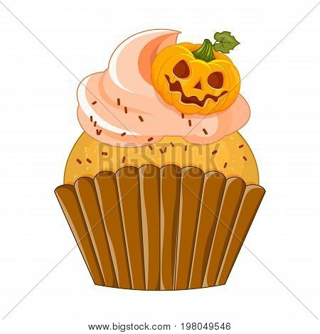 Vector illustration of a Halloween purple cupcake on a white background. Happy Halloween scary sweets. Sweet pumpkin lies on the air cream.