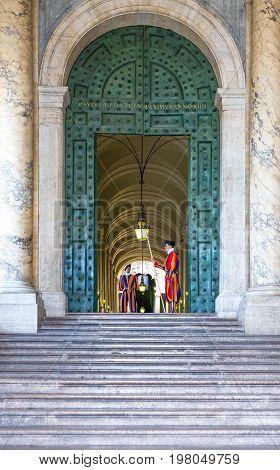 Rome Italy - September 29 2008: Swiss gards at the Città del Vaticano entrance
