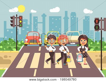 Stock vector illustration cartoon characters children, observance traffic rules, boys and girls schoolchildren classmates go to road pedestrian zone crossing, city background back to school flat style